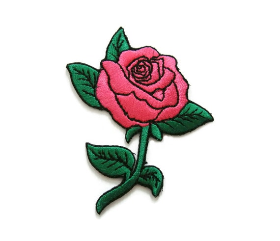 Pink roses tattoo biker embroidered applique iron on patch