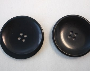 """black, plastic, round, buttons, 1 3/4"""" (44 mm)"""