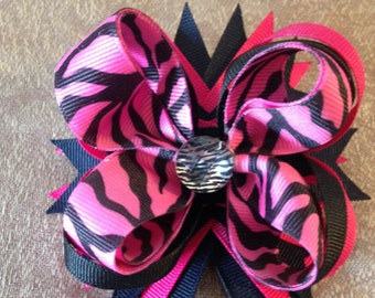 Hair bows,Zebra print Hair bows, Boutique Hair bows, Boutique Bows, stacked hair bows, layered hairbows, Pink and Black