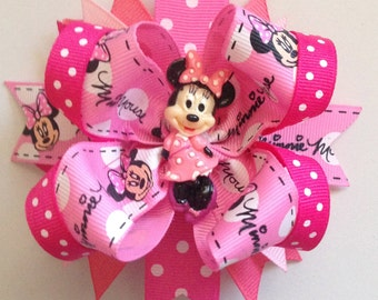 Minnie Mouse, Stacked Hair bow,Layered hair bow, Boutique hair bow,Pink Minnie,Polka dots,Disney bows,Minnie Mouse Bows,