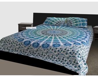 King Size Quilt Doona Cover Mandala Reversible 2 Pillow Cases