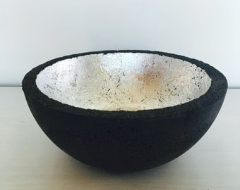 black concrete bowl with silver leafing