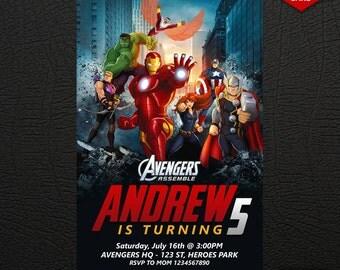 Avengers Invitation, Avengers Birthday Invitation, Super Heroes Invitation, The Avengers Invitation, FREE 4 x 6 Thank You Card