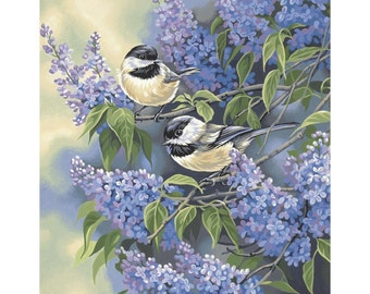 "Paint Works -Paint by Number Kit 11"" X 14 - Birds & Lilacs"