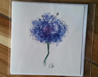 Greeting card - blue flower