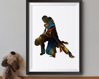 Tango Poster - Art Print -  Dancing Couple Illustration - Wall Art - Home Decor