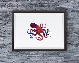 Octopus Print - Octopus Art Poster - Colorful Art Illustration - Wall Art - Home Decor