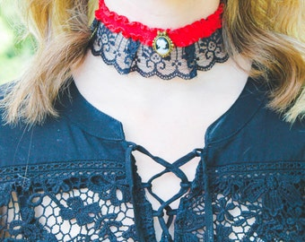 Red Lace Cameo Choker