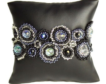 Flawless ArtisanO rnate Stunning Halo Designer Bracelet Cuff Fair Trade Artisan Glitzy Black Silver w/ Magnetic Closure