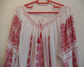 Traditional romanian hand embroidered/beaded blouse.