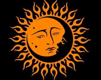 Sun and Moon Stars vinyl decal sticker