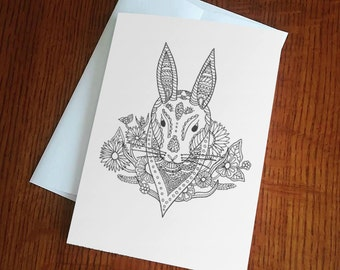 "Black and White Rabbit Coloring Blank Greeting Card 5"" x 7"""