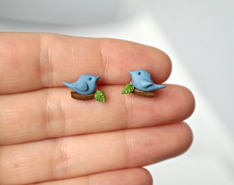 Small blue bird - new handmade lightweight earrings, jewelry, ideal for gift for girl