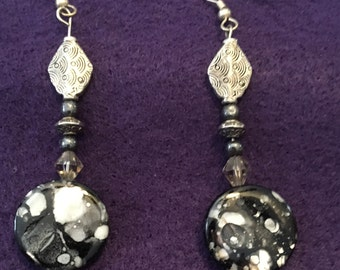 black speckled hand beaded earrings, drop earrings, black and white jewelry