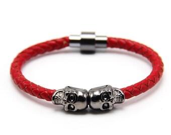 Skull Bracelet Gunmetal / Red Nappa Leather