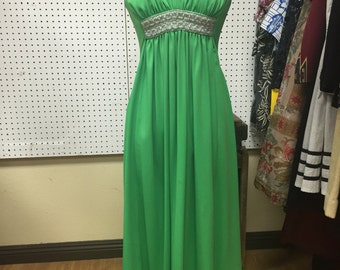 70's Green Sleeveless Party Dress