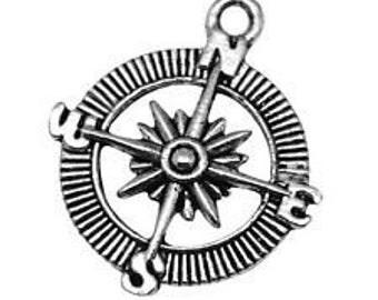 Compass Charm. Tibetan Silver Tone x 5