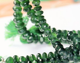 8 inch long strand faceted SERPENTINE rondelle beads 6--8 mm
