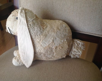 Antique Lace-covered Stuffed Bunny