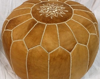 SALE ** STUFFED Moroccan Leather pouf ottoman with top embroidery in Tan and White