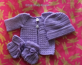 Newborn lavender layette, hat, cardigan, and booties, 0-3 month set