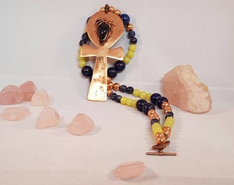 Lapis Lazuli, Lemon Jasper, Sodalite, Copper, Gilding Metal Ankh Necklace 20 inches