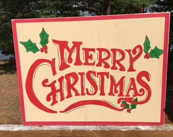 Hand painted sign - Merry Christmas - christmas decore