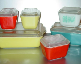 Vintage Pyrex Colorful Lot Assorted Refrigerator Dishes (6)