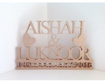 Freestanding MDF Personalised Names and Date On Stand