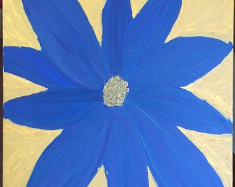 Blue Flower Acrylic Painting on Canvas