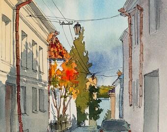 ORIGINAL. Urban sketch. Vyborg, Russia.