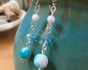 Handmade, Simple, Boho, Silver, Dangle, Drop, Watercolor, Turquoise, Green, Glass Bead, Earring