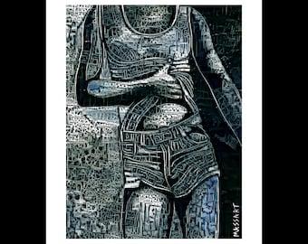 Art print digital gay Creation - art - male nude Male - N86 - 24 x 32 cm on A3