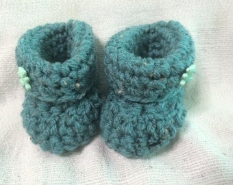 Handmade Crochet Baby Boys Boots Size 0-3 Months Old