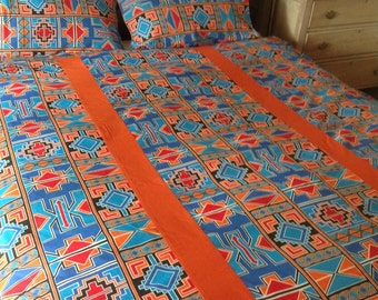 African bed linen.  Striking queen size duvet cover with two matching pillowcases
