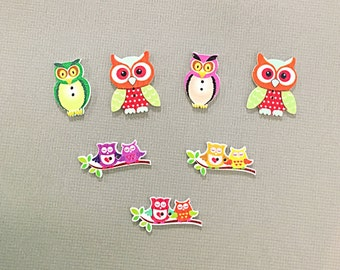 Mixed owl buttons - wood owl buttons