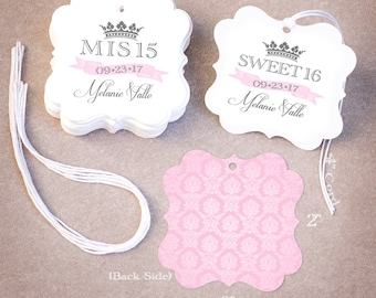 100 Quinceañera Favor Tags   Personalized Mis 15 Sweet 16 Favor Tags   Damask