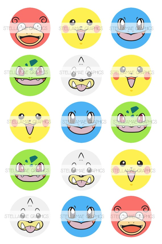 Pokemon birthday printable cupcake cake toppers birthday wikii pokemon faces 1 inch circle images bottlecap cupcake topper instant download you will receive 1 4x6 sheet containing 15 digital images as shown all thecheapjerseys Gallery