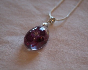 Clear Purple Flower Pendant