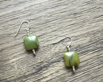 Natural Olive Jade Stone Earrings