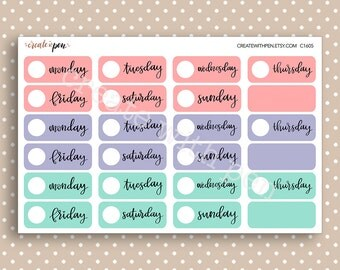 DAYS of the WEEK - Hand lettered planner stickers - Calendar Collection - Kikki K Filofax Erin Condren C1605