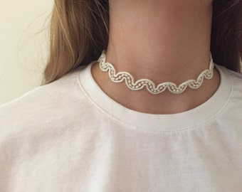 """Choker"" necklace made with small white beads"