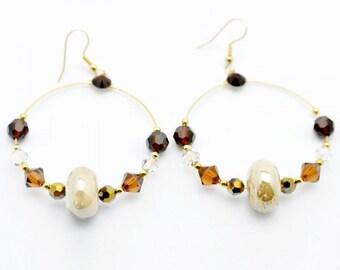 Bronze Hoop Crystal Earrings