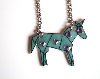 Blue style Unicorn origami with triangular pink pearls