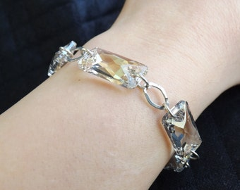 """925 silver bracelet with Swarovski Crystal silver shade """"Space"""" color """"cut"""""""