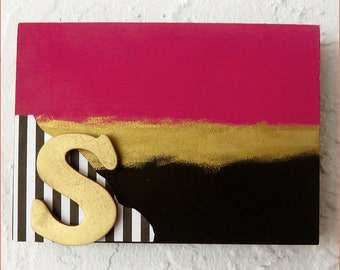 Kate Spade Inspired Acrylicpainted Block- Initial Painting Black Pink White Gold Dorm Decor,Home ,Wall, Trendy Art,Designer Art,Fashion Art,