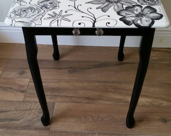 Black & White Hand Painted Side Tables