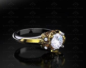 Master Sword 1.20ct White/Yellow/Rose Gold Zelda Triforce Ring