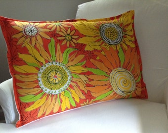 Hand painted Sunflower Decorative Pillow