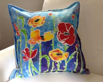 Red and Yellow Poppy Decorative Pillow